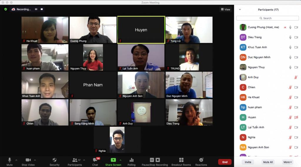 Hình ảnh lớp học Online tại PMA